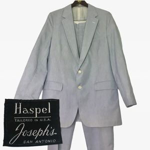 Vintage Blue White Striped Two Piece Suit Summer